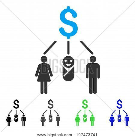 Family Budget flat vector illustration. Colored family budget gray, black, blue, green pictogram variants. Flat icon style for application design.