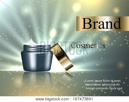 design cosmetic cream with a gold cap on a gentle background, light, luster, luxury. Realistic 3D illustration, vector, advertisement, poster, banner