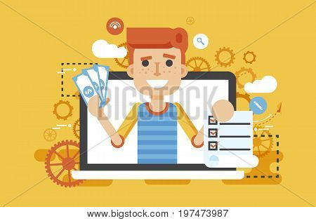 Stock vector illustration man laptop notebook offers fill in application form design element email marketing, newsletter money win earning, income, discount, online flat style yellow background icon