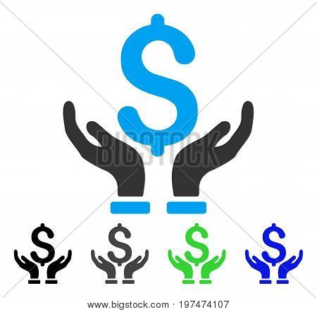 Financial Insurance Hands flat vector pictogram. Colored financial insurance hands gray, black, blue, green icon versions. Flat icon style for web design.