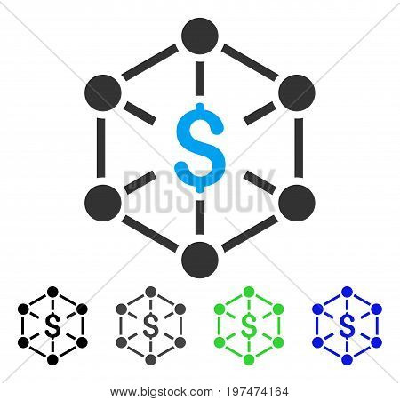 Financial Network flat vector pictograph. Colored financial network gray, black, blue, green icon versions. Flat icon style for web design.