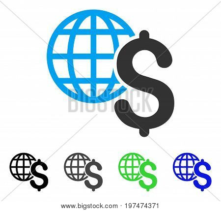 Global Economics flat vector illustration. Colored global economics gray, black, blue, green pictogram variants. Flat icon style for application design.