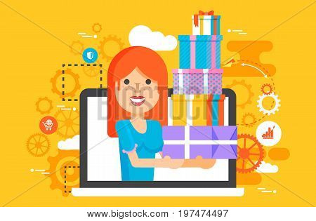 Stock vector illustration woman in laptop notebook with lot of shopping packing boxes of gifts design element marketing purchase, sale discount online store flat style yellow background icon