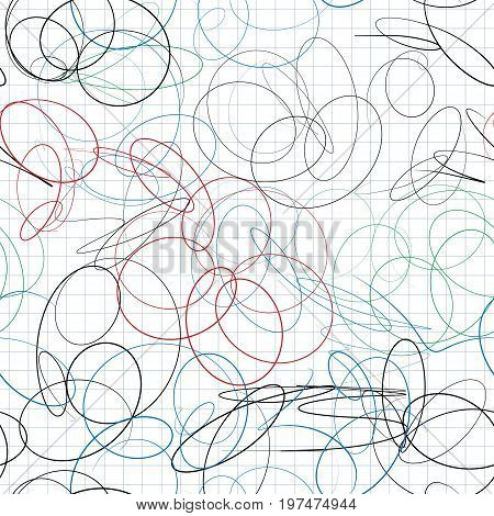Seamless pattern of scribble in notebook sheet in a cage. Multi Colored doodles strokes of ballpoint pen. Vector illustration.