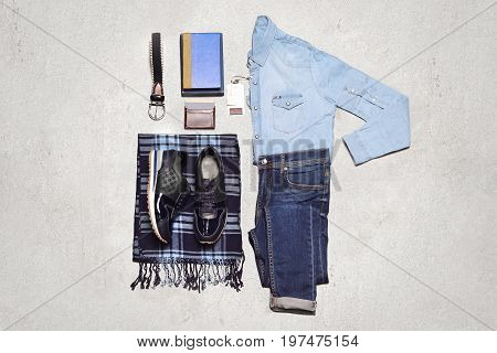 Top View Of Men's Casual Outfits With Accessories