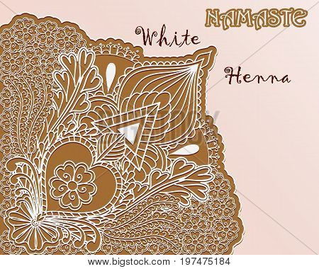 White henna angular pattern. Namaste background. Vector illustration