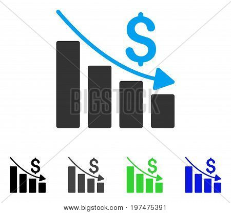 Recession flat vector pictograph. Colored recession gray, black, blue, green icon variants. Flat icon style for web design.