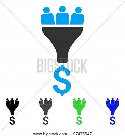 Sales Funnel flat vector icon. Colored sales funnel gray, black, blue, green icon versions. Flat icon style for graphic design.