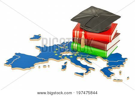 Education in Europe concept 3D rendering isolated on white background