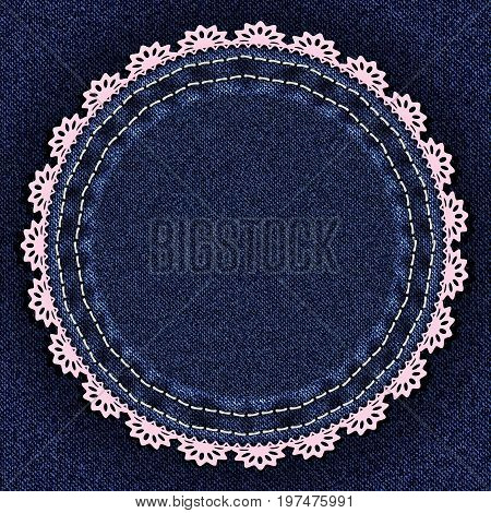 Denim blue background with round sewn jeans patch and lace. Vector illustration