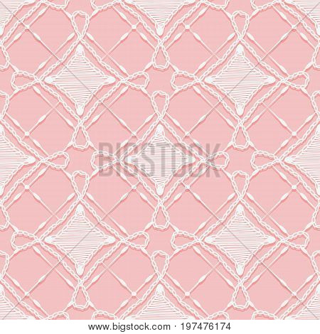 Seamless lace pattern. Imitation hand crochet openwork ornament. White texture on a pink background. Vector illustration