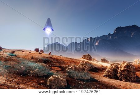 Rocket landing, many meteorite rocks, 3d illustration