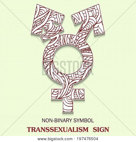 Symbol of Transsexualism is a Transgendered sexuality sign with a pattern in tribal Indian style. Vector illustration