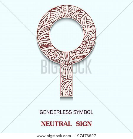 Symbol of genderless is Neutral sign with a pattern in tribal Indian style. Vector illustration