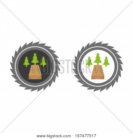 A set of sawmill icons with pine trees