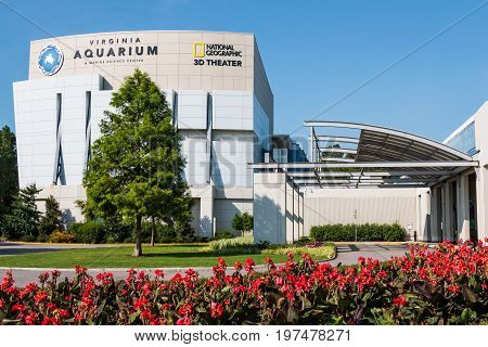 VIRGINIA BEACH, VIRGINIA - JULY 13, 2017:  The Virginia Aquarium & Marine Science Center, with over 800,000 gallons of aquariums and animal habitats and an IMAX theater.