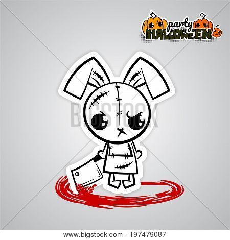 Halloween evil bunny rabbit knife, blade cartoon funny monster. Pop art wow comic book text poster party. Ugly angry monochrome thread needle sewing voodoo doll. Vector illustration sticker paper.
