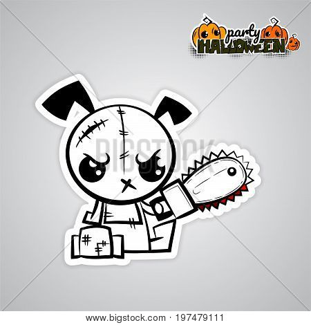 Halloween evil dog blood saw cartoon funny monster. Pop art wow comic book text poster party. Ugly angry monochrome thread needle sewing voodoo doll. Vector illustration sticker paper.