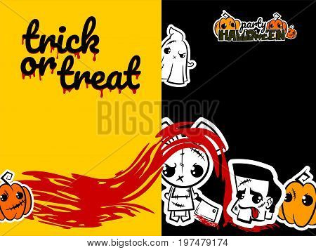 Halloween evil bunny rabbit ghost knife cartoon funny monster.  comic book text poster party. Ugly angry thread needle sewing voodoo doll. Vector illustration paper sticker. Trick or treat.