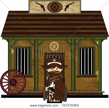 Cute Cowboy Sheriff At Jail.eps