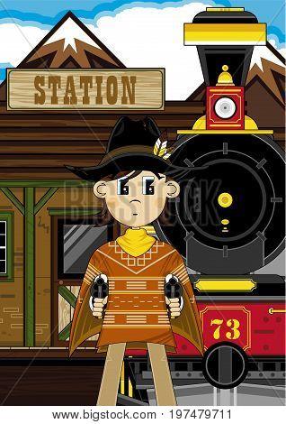 Cute Cowboy At Train Station