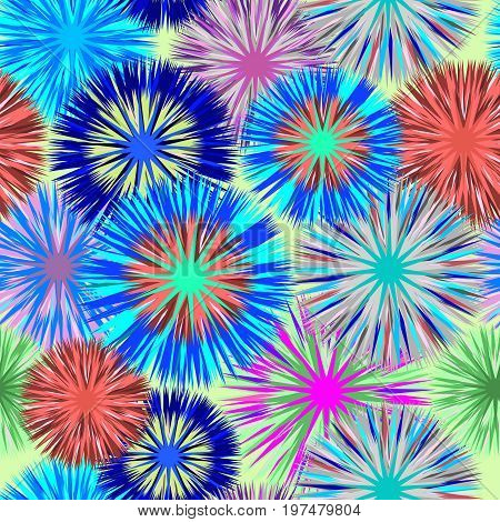 Seamless square vivid cluster flower background pattern