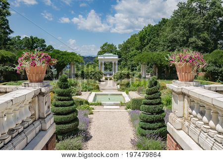 ANNANDALE-ON-HUDSON, NY USA  - JULY 3,2017:  Blythewood Manor Italian Garden, on the Bard College campus in the Hudson Valley.