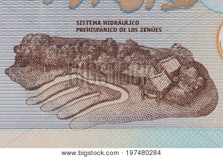 Zenu artificial water channels on the twenty thousand Colombian pesos bill