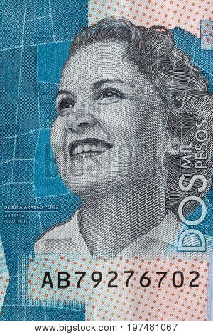 Artist Debora Arango Perez on the two thousand Colombian pesos bill