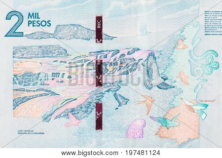 The River of Five Colors on the two thousand Colombian pesos bill