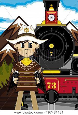 Cowboy Sheriff Train Scene