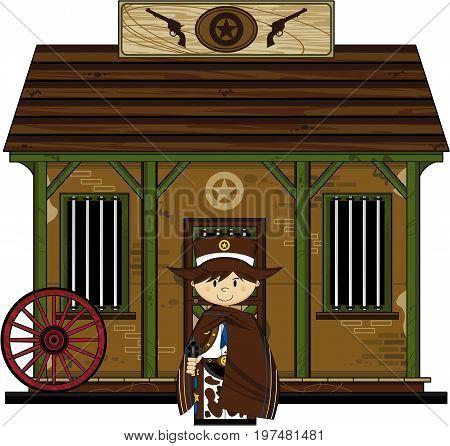 Cowboy Sheriff At Jail.eps