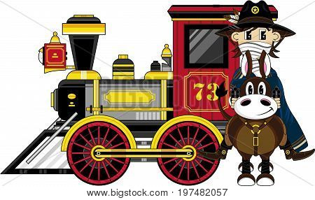 Cowboy On Horse & Train.eps