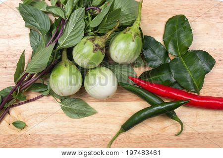 Ingredients for cooking Green curry / red and hreen chili eggplant sweet basil and kaffir lime / cooking green curry concept