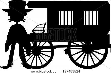 Cowboy & Jail Cart Silhouette.eps
