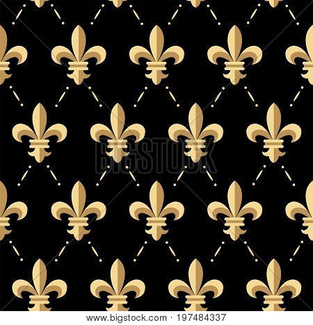 Vector illustration of golden fleur-de-lis seamless pattern. Vintage design for cards wrapping paper textile. Floral classic texture royal lily. Fleur de lis floral retro background.