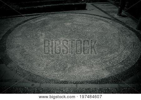 Circular Design Pattern Texture In Royal Grdens Of Alcazar, Codoba, Spain, Europe