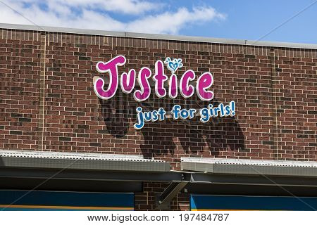 Indianapolis - Circa July 2017: Justice Just for Girls! Retail Strip Mall Location. Justice branded clothing stores are owned by Ascena Retail Group (ASNA) I