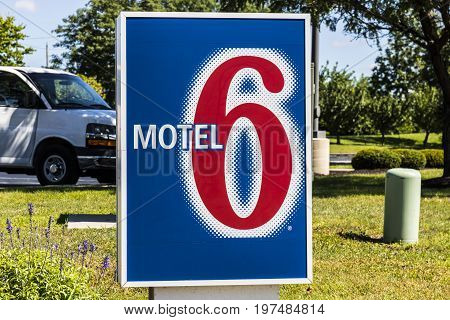 Indianapolis - Circa July 2017: Motel 6 Logo and Signage. Motel 6 is a major chain of budget motels III