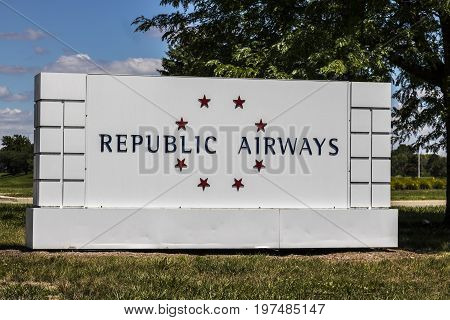 Indianapolis - Circa July 2017: Republic Airways Holdings Signage near the airport. Republic Airways Holdings owns Republic Airlines I