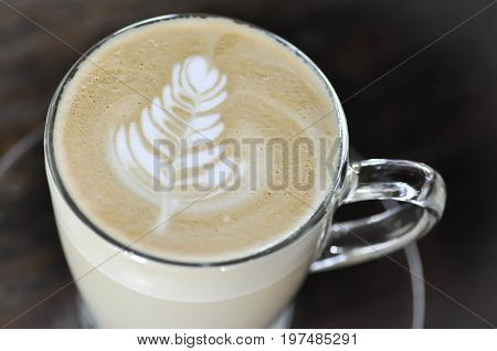 latte art cappuccino or a cup of latte coffee