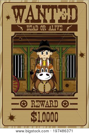 Cute Cowboy On Horse Poster.eps