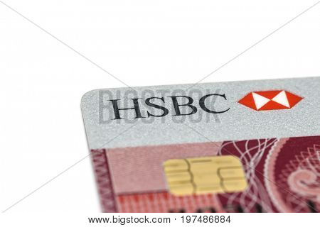 Ostersund, Sweden- July 29, 2017: HSBC credit card on white background. HSBC Bank is one of the largest banking and financial services organisation