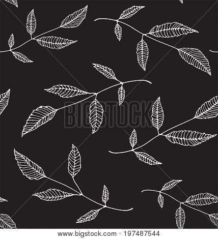 Leaves decorative monochrome tileable backdrop for design on black. Vector illustration