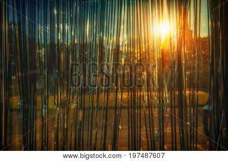 Sunlight through a shiny curtain. background and texture