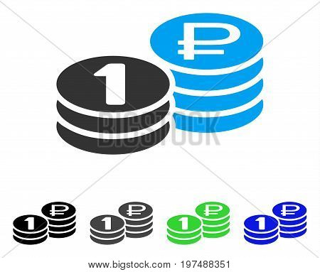 Rouble Coin Stacks flat vector pictogram. Colored rouble coin stacks gray, black, blue, green icon versions. Flat icon style for graphic design.