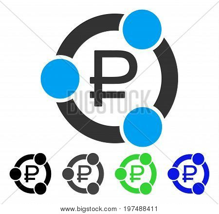 Rouble Collaboration flat vector illustration. Colored rouble collaboration gray, black, blue, green pictogram versions. Flat icon style for application design.