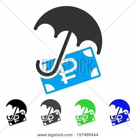 Rouble Financial Safety flat vector illustration. Colored rouble financial safety gray, black, blue, green icon variants. Flat icon style for graphic design.