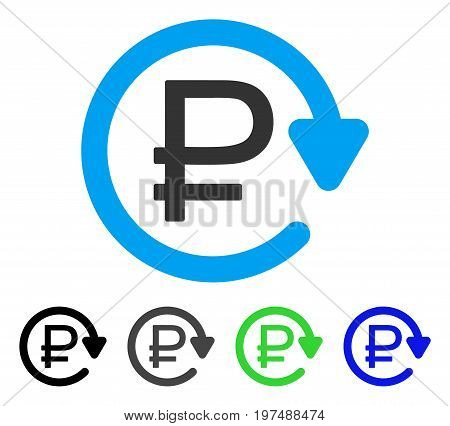 Rouble Recurring Payment flat vector illustration. Colored rouble recurring payment gray, black, blue, green pictogram variants. Flat icon style for web design.