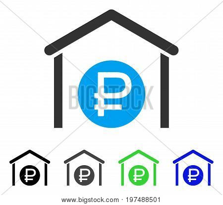 Rouble Storage flat vector pictograph. Colored rouble storage gray, black, blue, green icon versions. Flat icon style for application design.